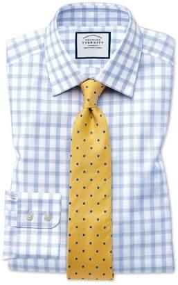 Charles Tyrwhitt Slim Fit Windowpane Check Sky Blue Cotton Dress Shirt Single Cuff Size 14.5/33