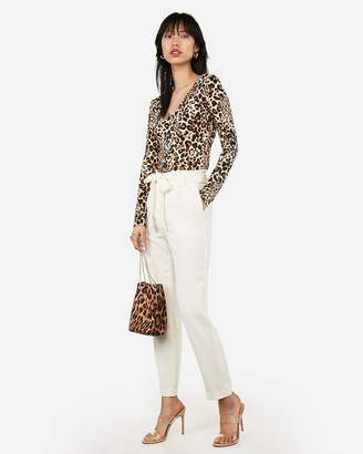 Express Leopard Print Cropped Long Sleeve V-Neck Tee