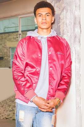 boohoo Dele Satin Bomber Jacket With Chest Embroidery