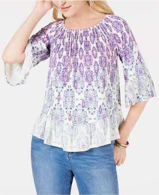 Style&Co. Style & Co Petite Printed Flounce-Trim Top