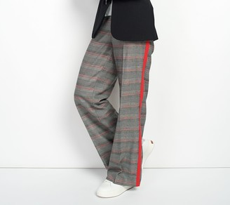 G.I.L.I. Got It Love It G.I.L.I. Regular Wide-Leg Plaid Pants with Stripe Detail