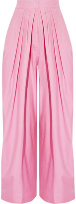Pleated Cotton Tapered Pants - Baby pink