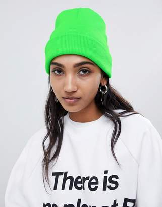 Asos DESIGN neon turn up beanie