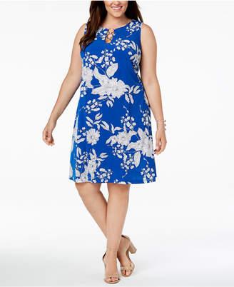 MSK Plus Size Printed Three-Ring Dress