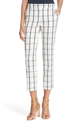Theory Treeca Check Stretch Wool Blend Crop Pant $285 thestylecure.com
