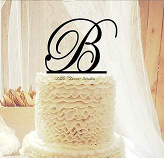 N. Love Decor Studio _ 1968 Custom Wedding Cake Topper with Personalized Initial with your choice of font, color and a FREE base for display Any Letter A B C D E F G H I J K L M O P Q R S T U V W X Y Z
