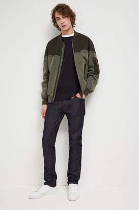 French Connenction Patchwork Carbon Wax Bomber Jacket