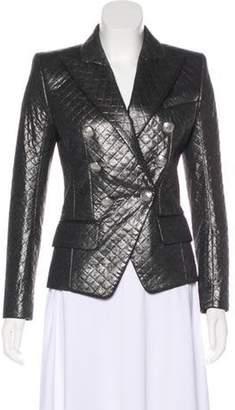 Balmain Quilted Metallic Blazer Silver Quilted Metallic Blazer