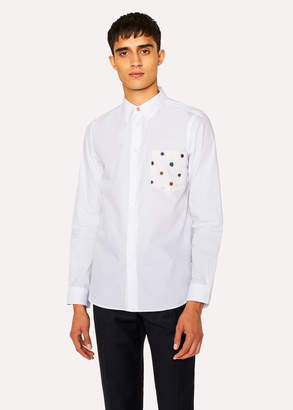 Paul Smith Men's Tailored-Fit White Cotton Shirt With 'Scribble Spot' Pocket