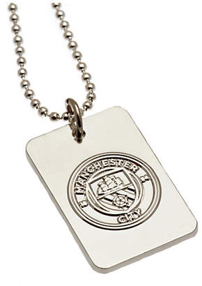 Manchester City Silver Plated Dog Tag & Ball Chain