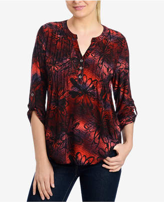 NY Collection Pleated Printed Top