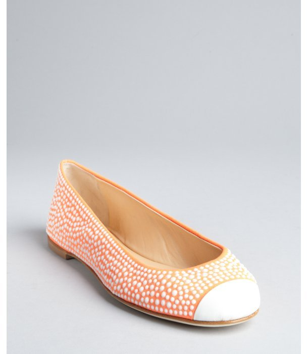 Giuseppe Zanotti neon orange and white glitter suede rhinestone studded cap toe flats