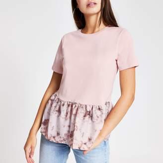 River Island Womens Pink tie dye peplum hem T-shirt