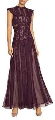 BCBGMAXAZRIA Striped Floral Lace Gown