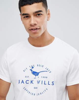 Jack Wills Baysglass large pheasant logo t-shirt in white
