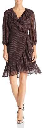 Adrianna Papell Faux-Wrap Foulard Dress