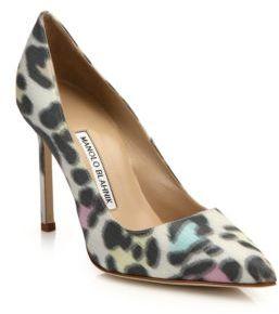 Manolo Blahnik Leopard-Print 105 Point Toe Pumps $695 thestylecure.com