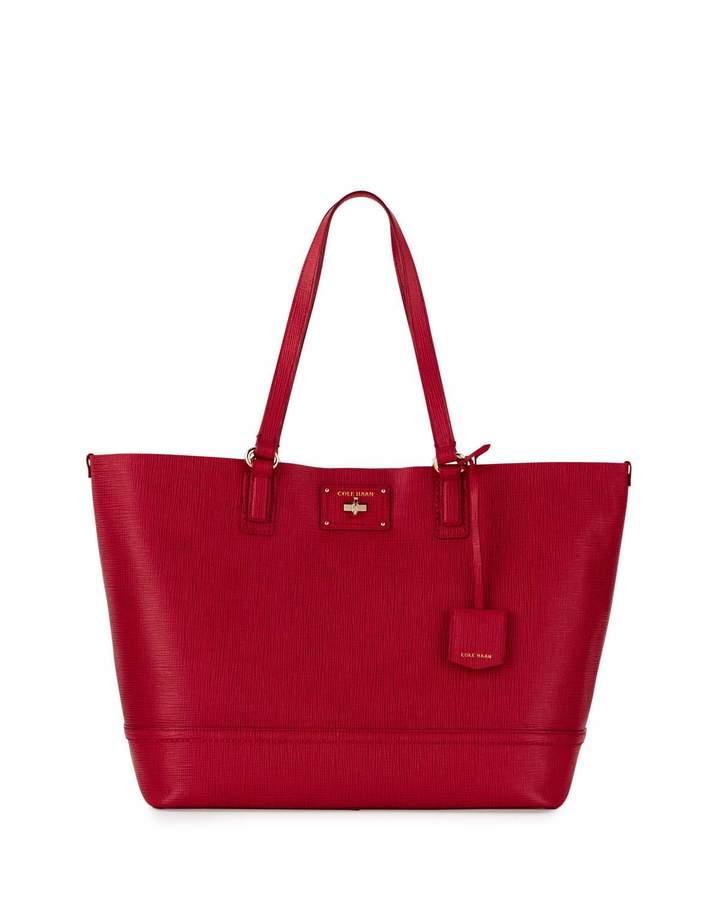 Cole Haan Cole Haan Jozie Lizard-Embossed Leather Tote Bag, Crimson