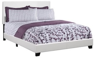 Monarch Specialties Monarch Queen White Faux Leather Bed
