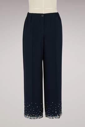 Miu Miu Embroidered silk trousers