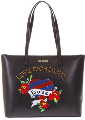 Love Moschino Black Heart Printed Shopping Bag