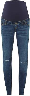 Dorothy Perkins Womens **Maternity Blue Rip Knee Skinny Jeans