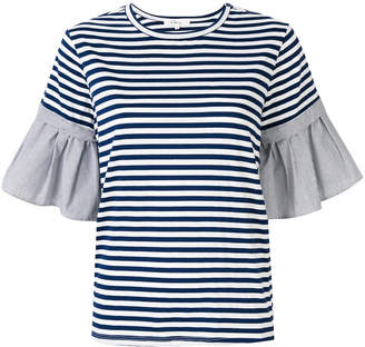 Clu striped contrast sleeve blouse