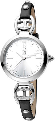Just Cavalli 28mm Logo Macrame Leather Watch, Black