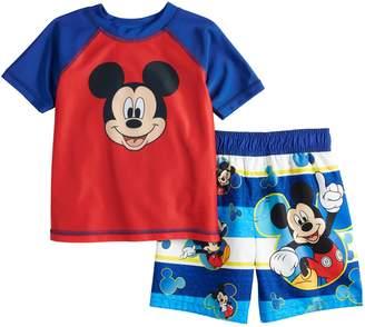 Disney Disney's Mickey Mouse Toddler Boy Raglan Rash Guard & Swim Trunks Set