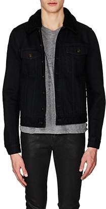 Saint Laurent Men's Shearling-Lined Denim Jacket - Black