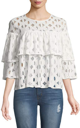 Zero Degrees Celsius Ruffle-Tiered Lace Blouse
