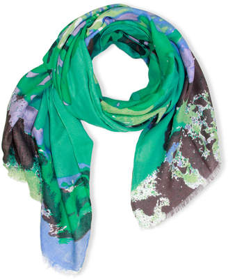 Saachi Abstract Flower Wool & Silk-Blend Scarf