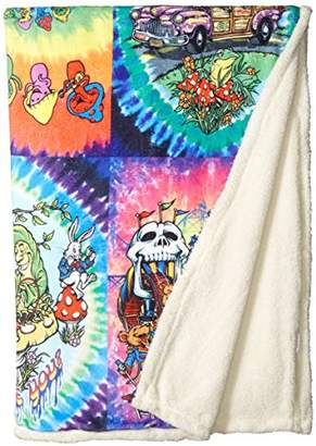 Liquid Blue Men's Hippy Collection Tie Dye Warm Coral Fleece Throw Blanket