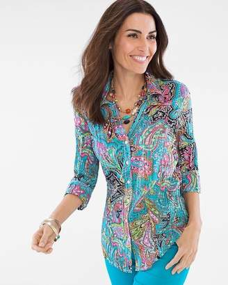 Chico's Cino For Multi-Colored Paisley Crinkle Shirt