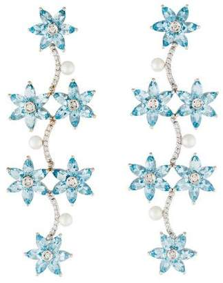 Carla Amorim 18K Pearl & Multistone Floral Drop Earrings
