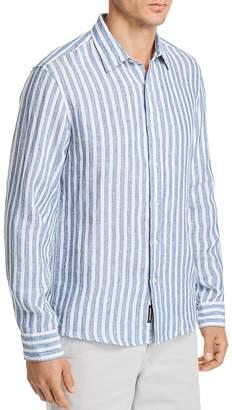 Michael Kors Striped Linen Slim Fit Button-Down Shirt