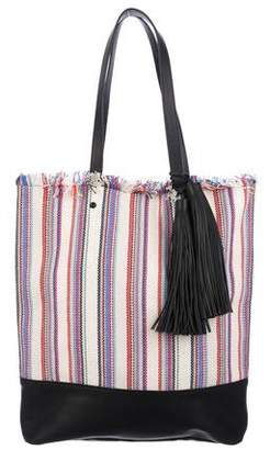 Loeffler Randall Leather-Trimmed Striped Tote