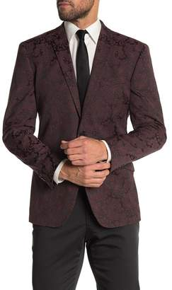 Kenneth Cole Reaction Burgundy Paisley Two Button Notch Lapel Evening Jacket