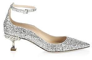 Miu Miu Women's Crystal Glitter Ankle-Strap Pumps