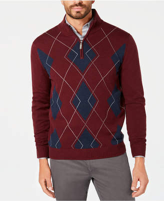 Club Room Men Quarter-Zip Pima Argyle Sweater
