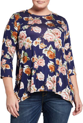 Bobeau Floral-Print 3\/4-Sleeve Top w\/ Back Pleat