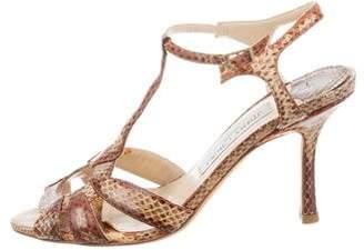 Jimmy Choo Snakeskin T-Strap Sandals