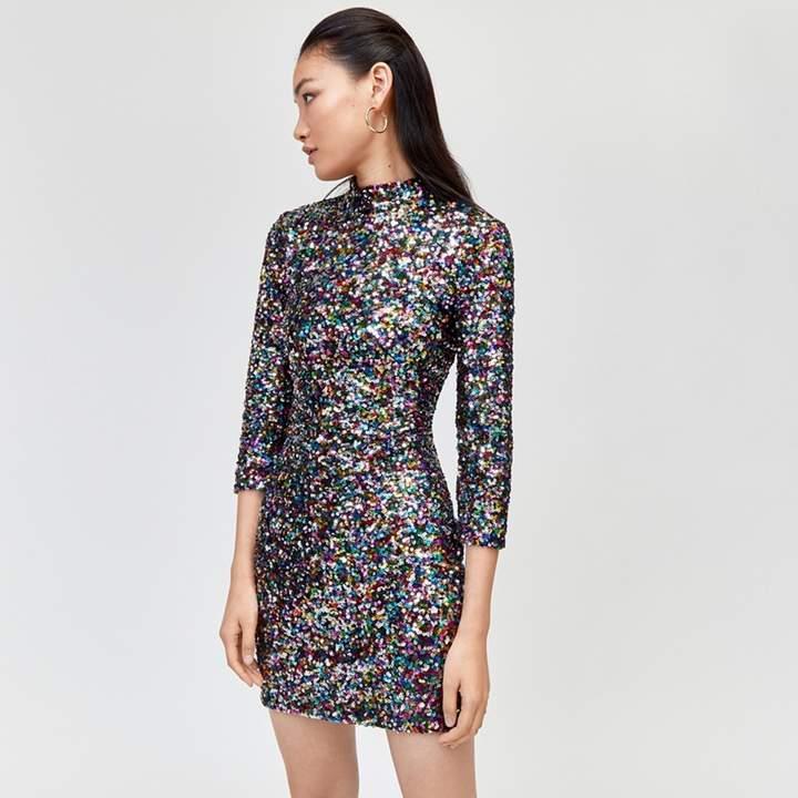 Rainbow Sequin High Neck Dress