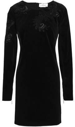 ZUHAIR MURAD Embellished Cotton-blend Velvet Mini Dress