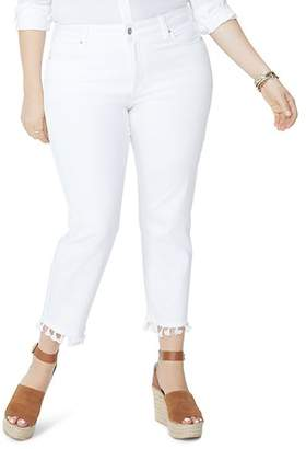 NYDJ Plus Sheri Tassel-Trimmed Slim Ankle Jeans in Optic White - 100% Exclusive