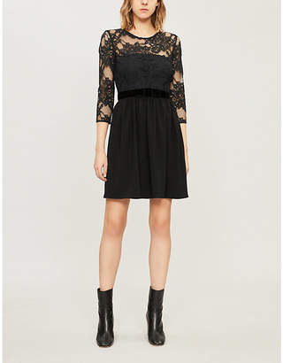 Claudie Pierlot Velvet-trimmed floral-lace and crepe mini dress