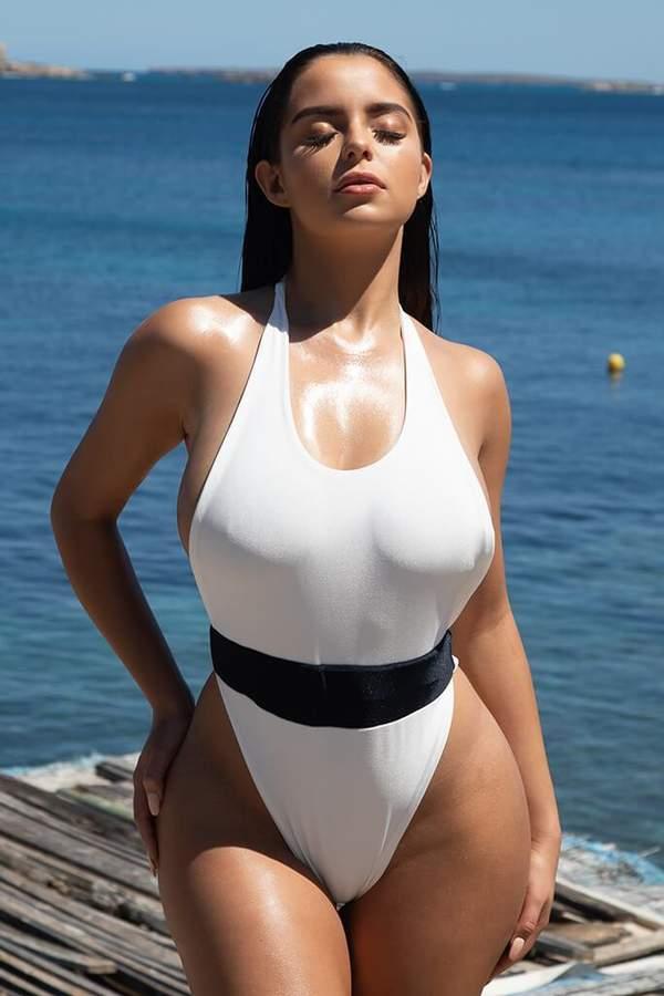Isawitfirst White/Black Waist Band Swimwear
