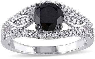 Black Diamond MODERN BRIDE Midnight 1 1/4 CT. T.W. White and Color-Enhanced 10K White Gold Vintage-Inspired Engagement Ring