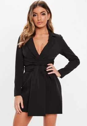 Missguided Black Extreme Wrap Belted Blazer Dress, Black