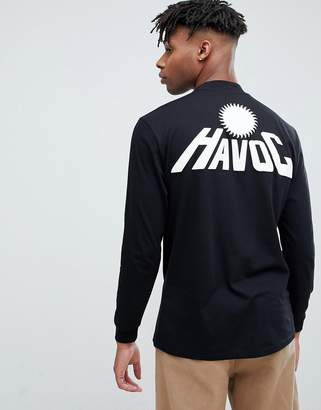 Asos DESIGN relaxed long sleeve t-shirt with havoc back puff print and turtleneck